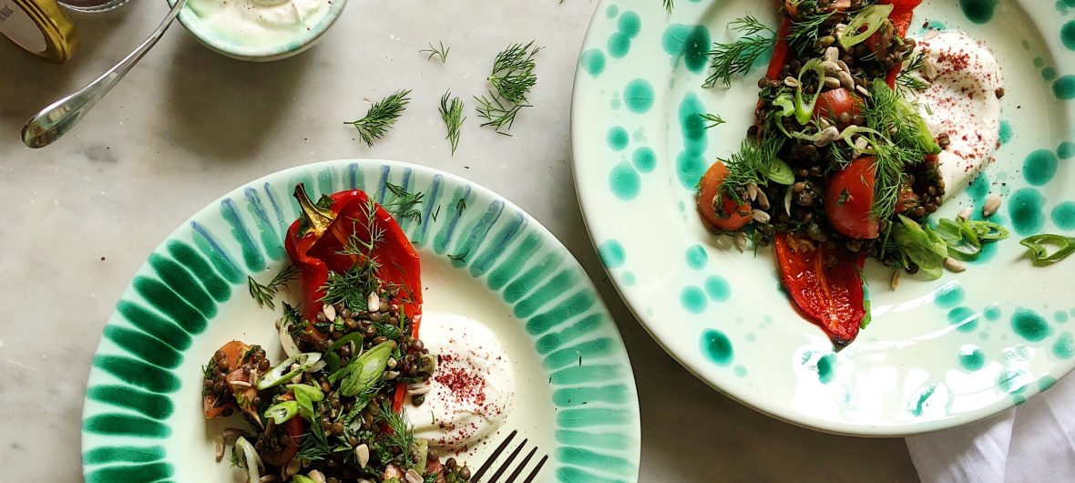 herby lentil salad with sweet pointed peppers