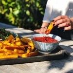 parmesan polenta fries with tomato and onion chutney