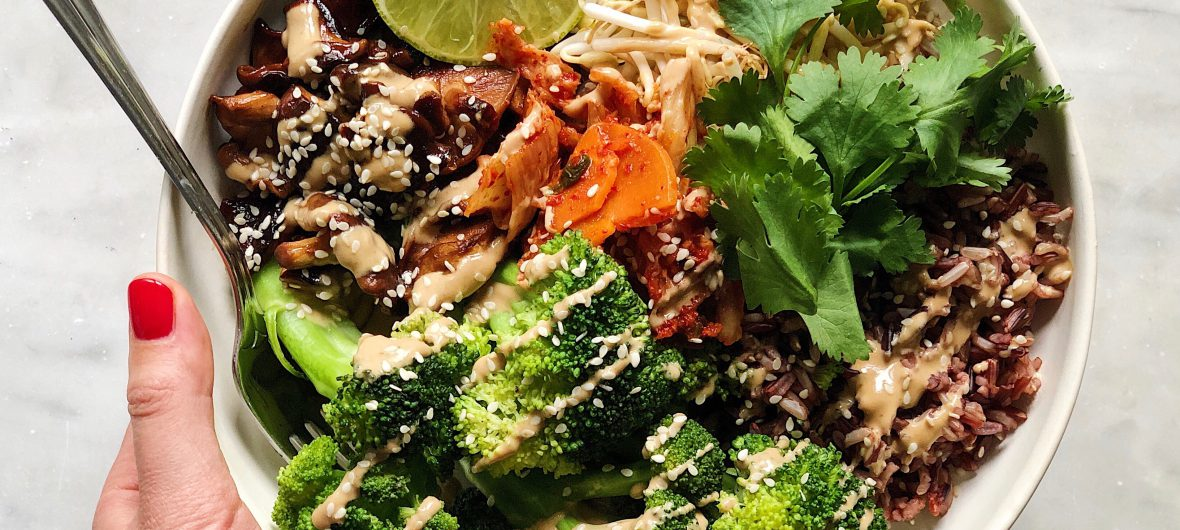 kimchi rice and vegetables bowl