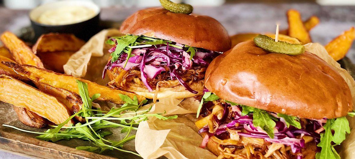 American pulled mushroom burger