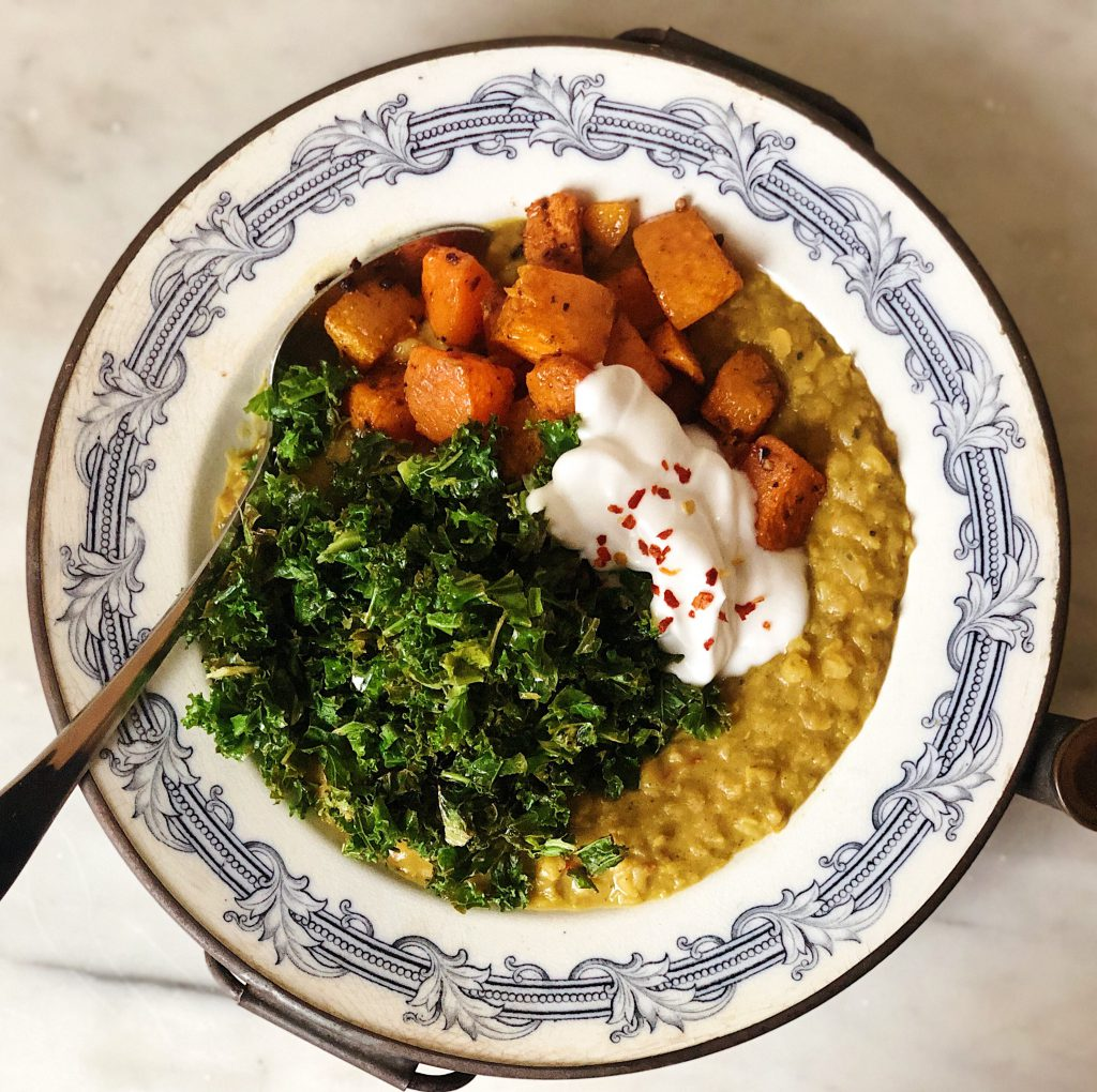 indian dahl with roasted squash, kale and yoghurt
