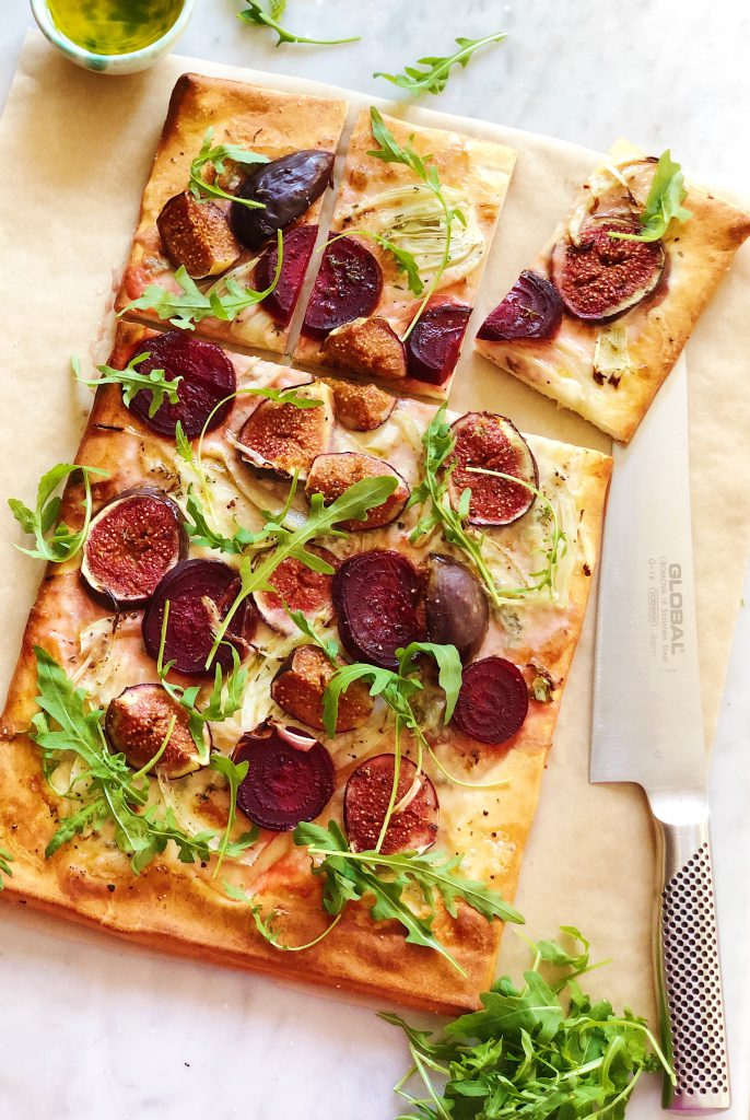 fig and gorgonzola tart with fennel and beetroot