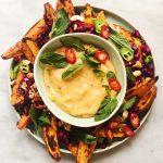 spicy sweet potato fries with mango dip