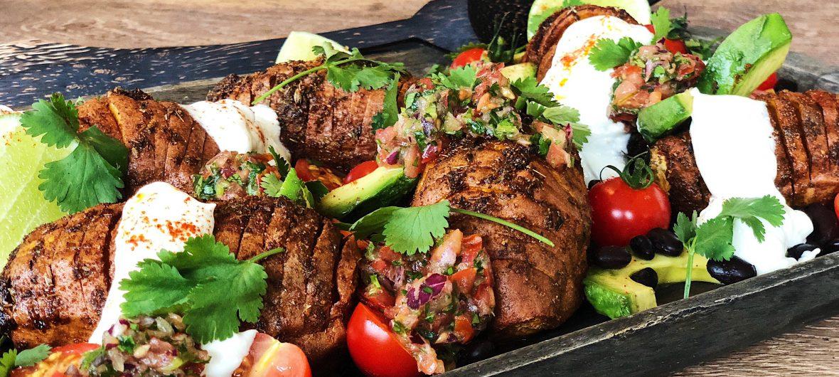 mexican spiced hasselback sweet potato traybake
