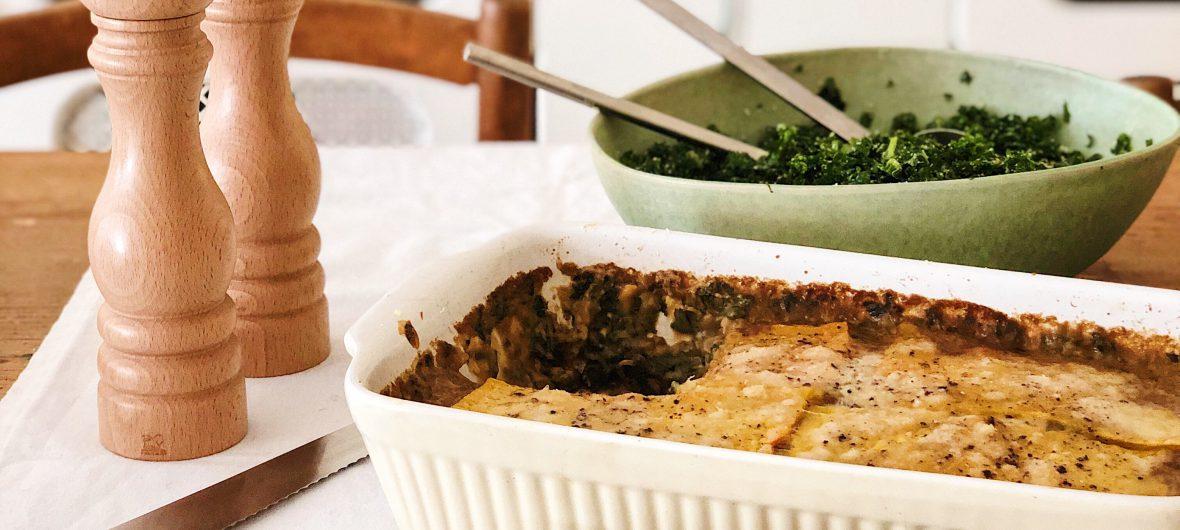Mushroom and kale lasagne