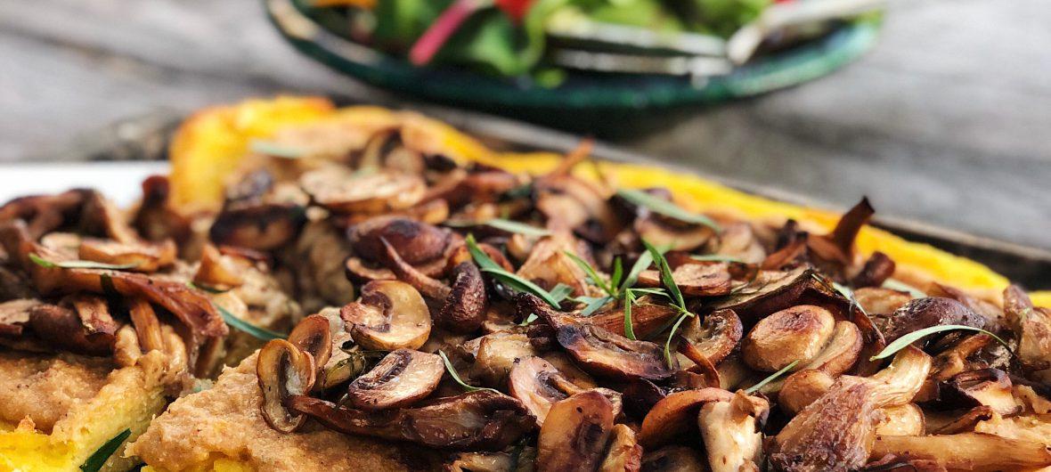 polenta pizza with mushrooms