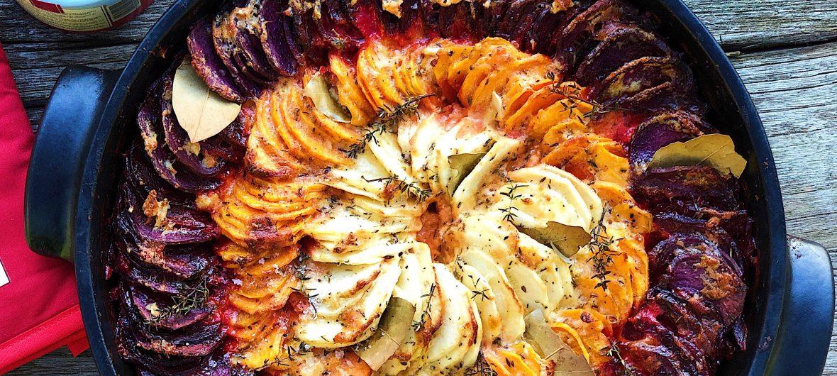 root vegetable gratin (potato)