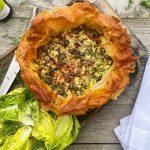 Spring filo pastry quiche