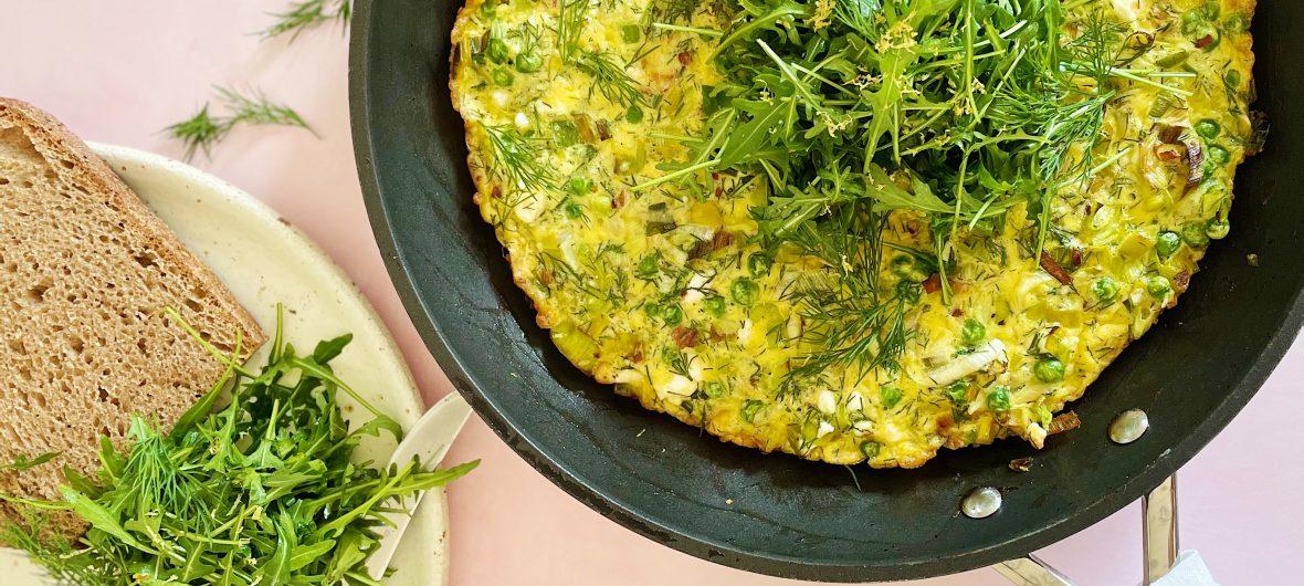 Spring feta and dill frittata