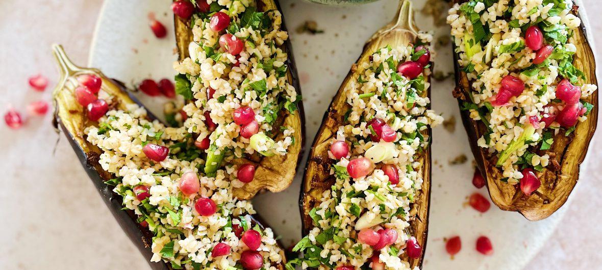 Aubergine with bulgur salad