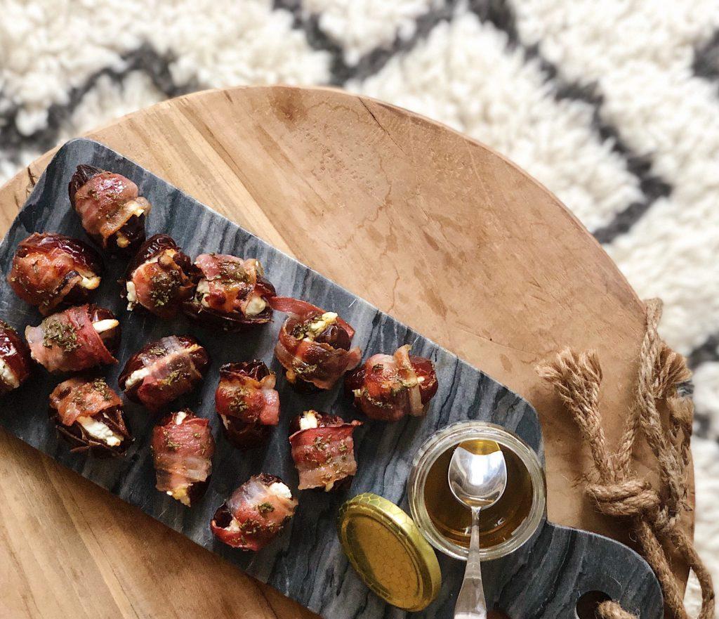 honey glazed bacon wrapped goat cheese dates