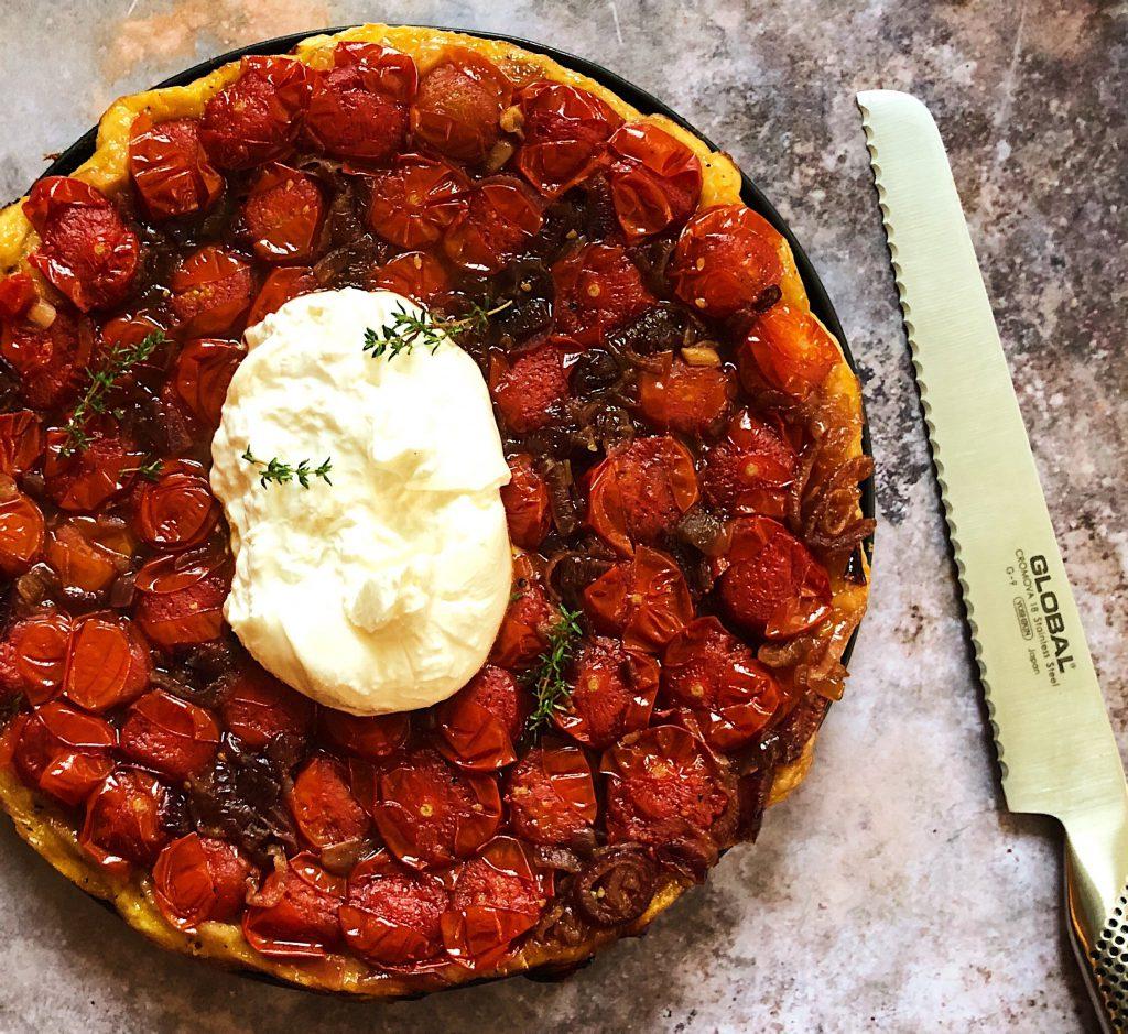 Tomato and red onion tarte tatin