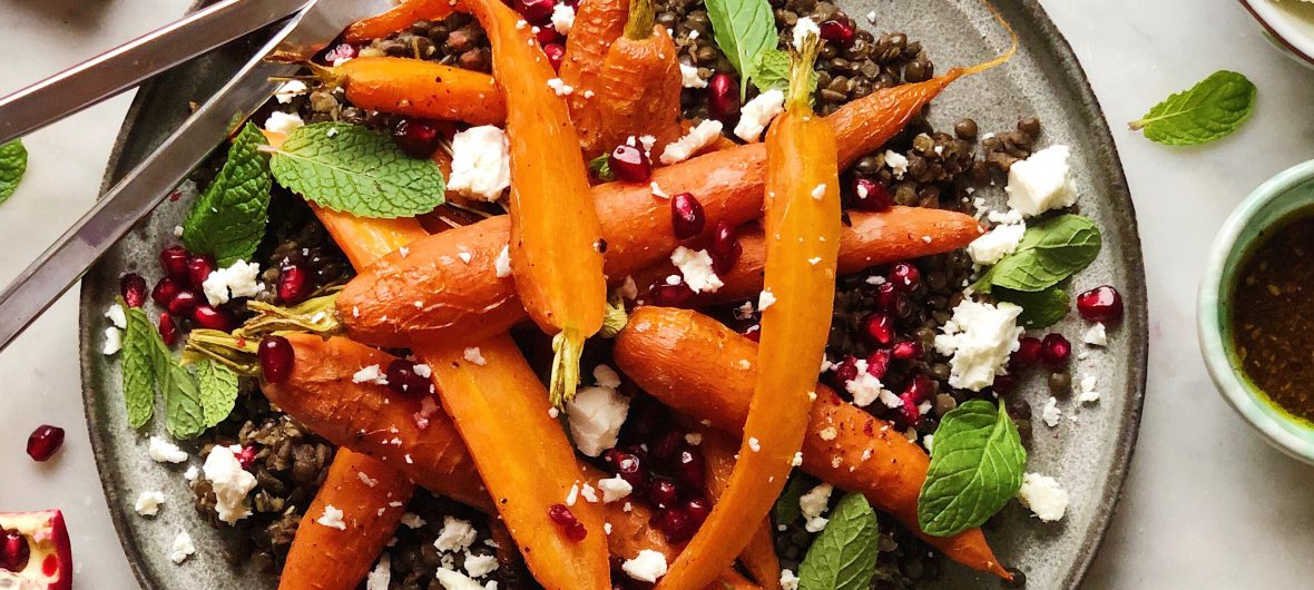 carrot and lentil salad with za'atar dressing
