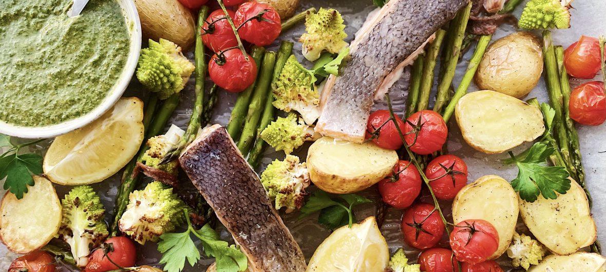 Salmon and vegetable traybake with salsa verde