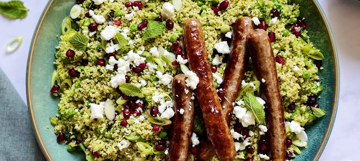 Herby couscous with chipolata sausage