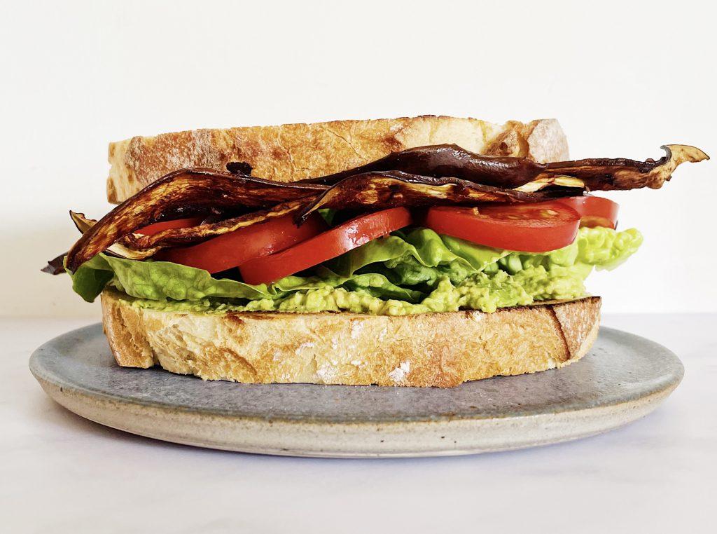 Aubergine BLT sandwich