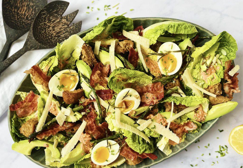 Caesar salad with kimchi dressing
