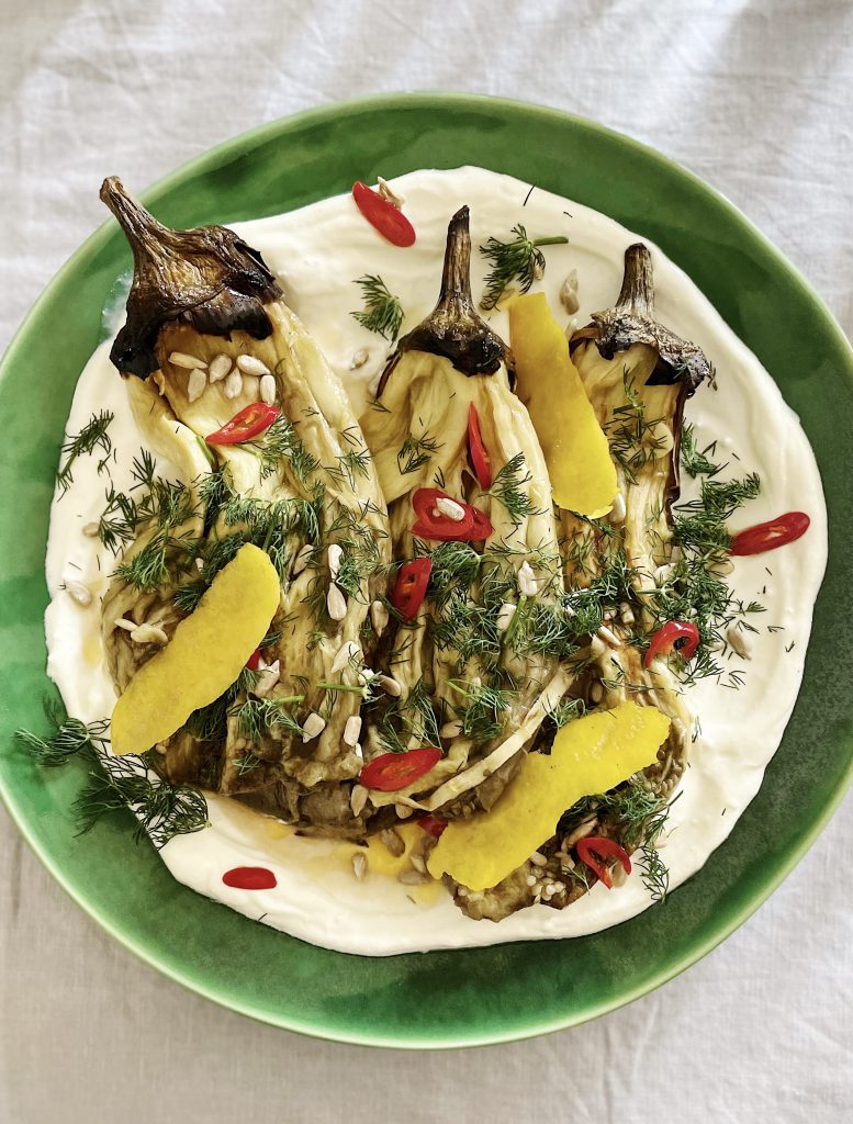 Burnt aubergines with labneh