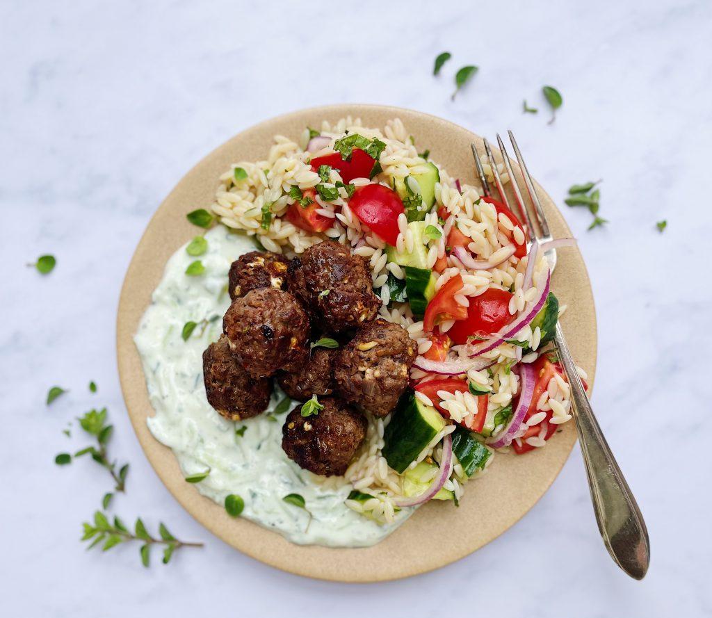 Greek Orzo Salad With Meatballs And Tzatziki