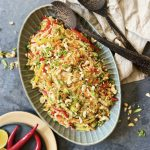 Rainbow rice noodle salad